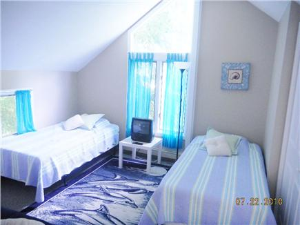 East Sandwich- West Barnstable Cape Cod vacation rental - Bedroom #2 with 2 twin beds and 1 Futon (not shown) and TV