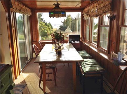West Yarmouth Cape Cod vacation rental - Dining table for eight with view of the bay!