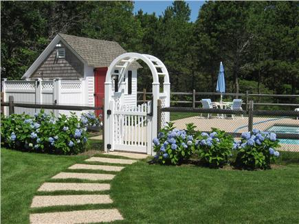 Dennis Port Cape Cod vacation rental - Pool entrance with outside shower and changing area