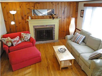 Chatham Cape Cod vacation rental - Warm bright living room w/working fireplace, twin sleeper
