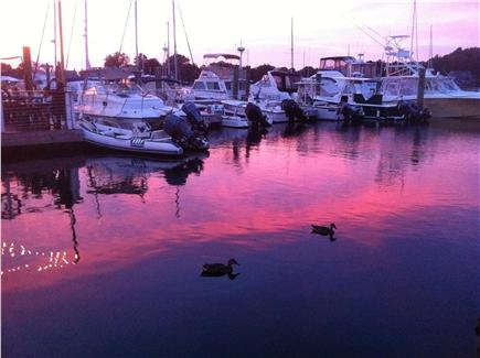 Woods Hole Woods Hole vacation rental - Sunset over the boats in the local marina called ''Eel Pond.''