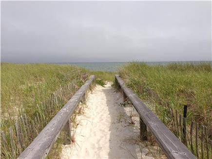 West Yarmouth Cape Cod vacation rental - Boardwalk entrance to the private beach across the street