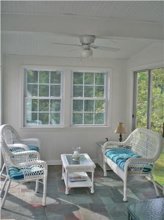 Brewster Cape Cod vacation rental - Cheery Sunroom with sliding doors to deck