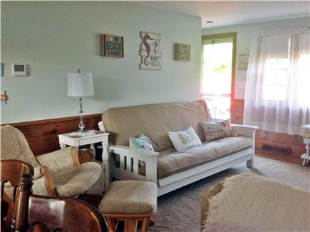Dennisport Cape Cod vacation rental - Open living room/dining room with sliders to the deck