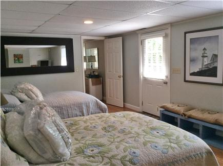 Truro Cape Cod vacation rental - Lower level bedroom with two double beds and one twin bed
