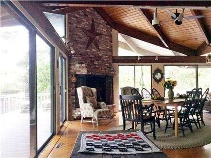 Truro Cape Cod vacation rental - Living room with floor to ceiling sliders