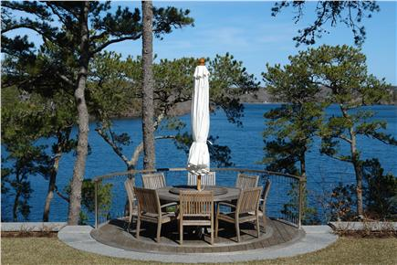 Brewster Cape Cod vacation rental - Sheep Pond view from rear deck - ''suspended''  table seats 10