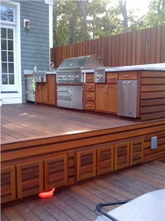 Brewster Cape Cod vacation rental - Full Outdoor Kitchen: grill, burners, warming drawer, refrig.