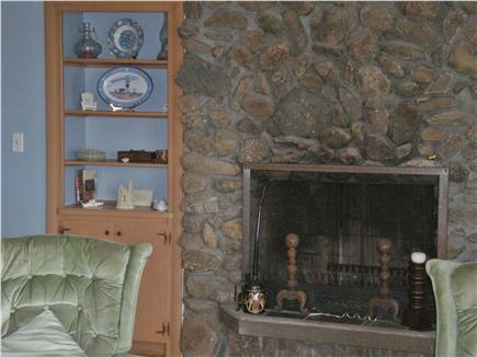 East Falmouth Cape Cod vacation rental - Living room with working stone fireplace