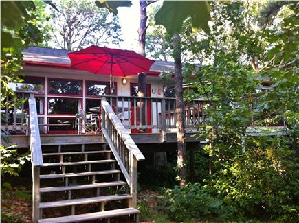 Wellfleet Cape Cod vacation rental - Looking up at the porch nestled in the trees