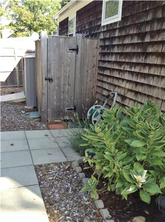 South Yarmouth Cape Cod vacation rental - Private outdoor shower and locking shed for bikes near shower