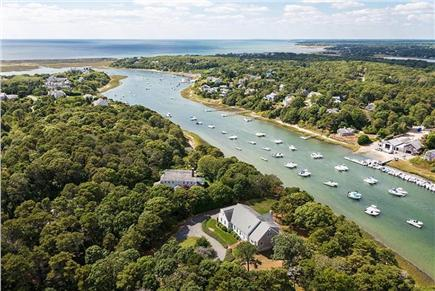 Chatham Cape Cod vacation rental - Aerial View up river looking towards Nantucket Sound