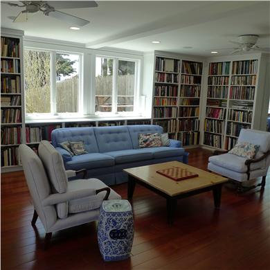 West Yarmouth Cape Cod vacation rental - The family room/library w/60'' TV is a great gathering place.