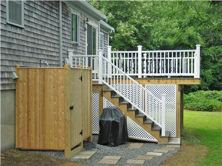 Brewster Cape Cod vacation rental - Back yard - outdoor shower, grill and deck
