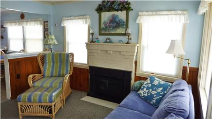 Dennisport Cape Cod vacation rental - Living room with gas fireplace