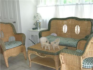 West Harwich Cape Cod vacation rental - Wicker sitting area with TV in garden house