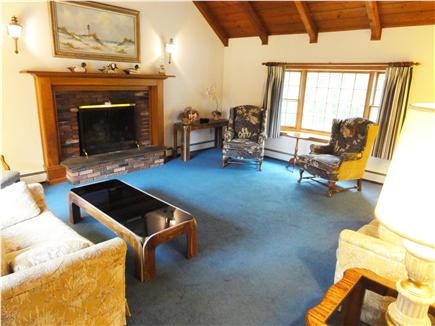 West Hyannisport Cape Cod vacation rental - Main floor living room, cathedral ceiling, great for entertaining