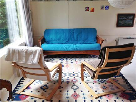 Wellfleet Cape Cod vacation rental - the living room. This futon couch can be used as an extra bed