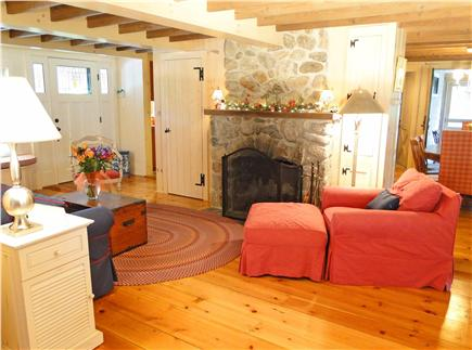 Hyannisport Cape Cod vacation rental - Comfortable living room with beautiful woodwork