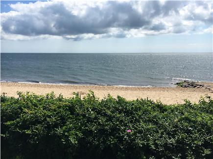 Mashpee, Popponesset Beach Cape Cod vacation rental - Beach view from hightop table and shuffleboard