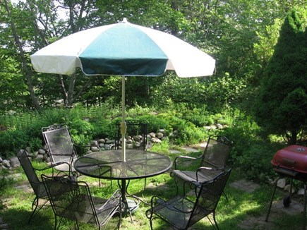 West Falmouth Cape Cod vacation rental - Dining in backyard overlooking estuary