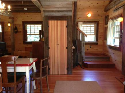 North Eastham Cape Cod vacation rental - Staircase leading to loft bedroom and balcony, central closet