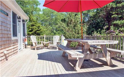 Eastham Cape Cod vacation rental - Deck with Picnic table, Adirondack chairs & gas grill