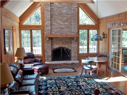 Harwich Cape Cod vacation rental - Great Room with Fireplace and huge vaulted ceilings