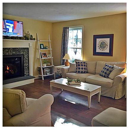 Harwichport Cape Cod vacation rental - Pottery Barn style interior-slipcovered sofa-flat screen tv.