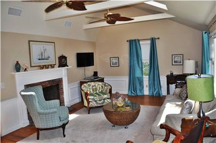 South Yarmouth Cape Cod vacation rental - Spacious living room with vaulted ceiling