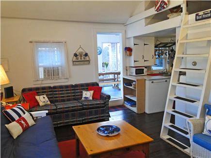 Brewster Cape Cod vacation rental - Living room with three couches, ladder to loft