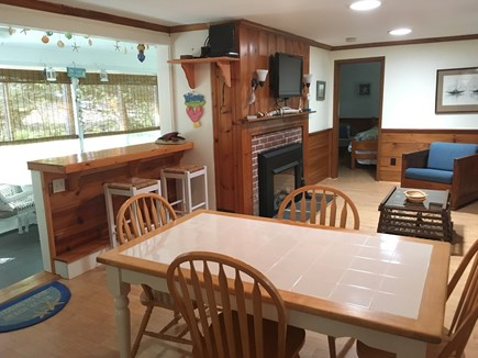 Eastham Cape Cod vacation rental - Family room and dining table
