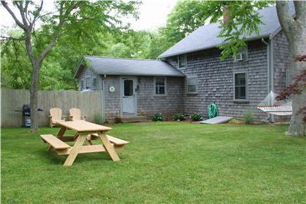 Dennis Cape Cod vacation rental - Another view of backyard.  More lawn to the right for croquet