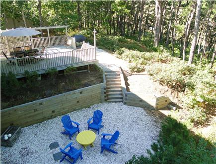 Wellfleet Cape Cod vacation rental - View of back yard deck and BBQ from Master balcony