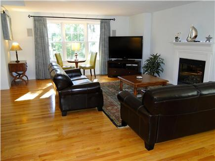 Wellfleet Cape Cod vacation rental - Spacious living room with leather couched, flat screen TV
