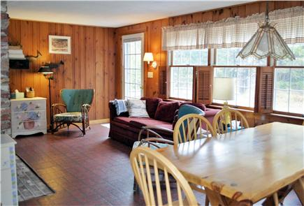 North Eastham Cape Cod vacation rental - Bright and airy living area looking onto front deck