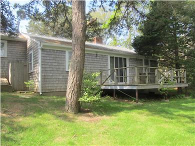 Popponesset, Mashpee Cape Cod vacation rental - Back deck off of sitting room & outdoor shower
