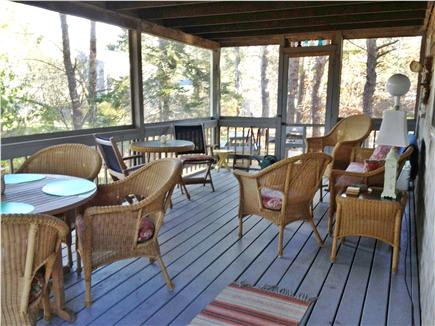 North Eastham Cape Cod vacation rental - Large screen porch with doors to both the front and back yard.