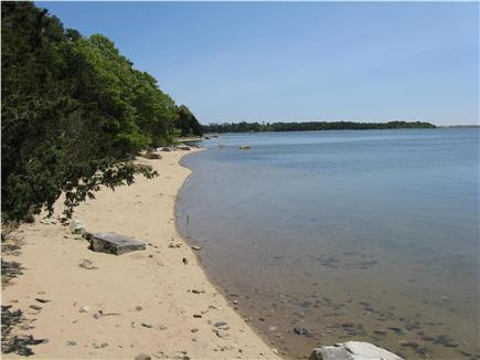 East Orleans Cape Cod vacation rental - The beach looking North toward Pochet Island