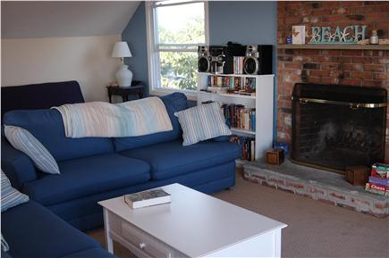 Plymouth MA vacation rental - Living room with fireplace