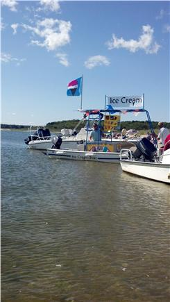 Popponesset Beach in Mashpee,  Cape Cod vacation rental - Ice Cream boat at the Spit