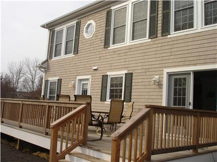 Brewster Cape Cod vacation rental - Rear 30 foot mahogany deck with cermaic table, chairs and Grill