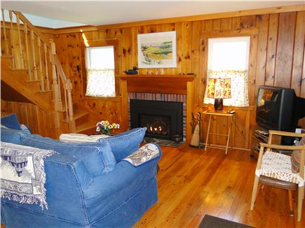 East Orleans Cape Cod vacation rental - Living room with gas fireplace, lovely hardwood