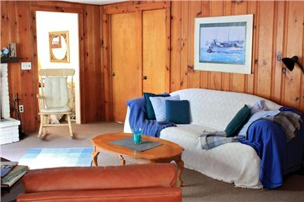 South Yarmouth Cape Cod vacation rental - Living room with fireplace/wood stove