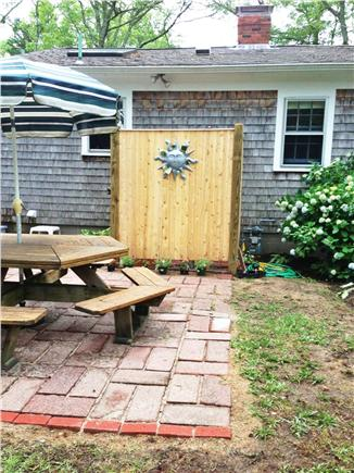 Long Pond, Harwich Cape Cod vacation rental - New custom-built shower - brick patio and outside lighting