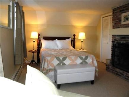 North Eastham Cape Cod vacation rental - Fireplace bedroom with double bed and sitting area (2nd floor)