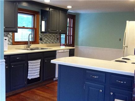 South Dennis Cape Cod vacation rental - Kitchen has fridge, elect. stove, dishwasher & space to cook.