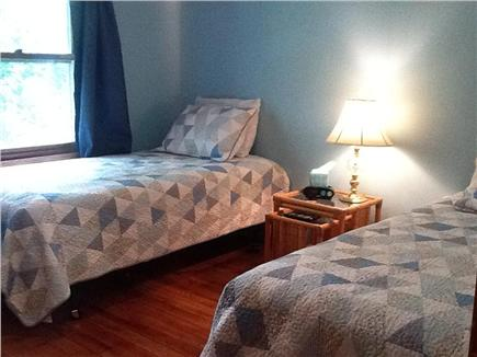 South Dennis Cape Cod vacation rental - Bedroom #2 saltbox blue room with 2 twins & flat screen HDTV