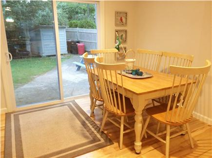 Mashpee Cape Cod vacation rental - Dining Room folds out to 5 x 5 w/seating for 6, sliders to yard