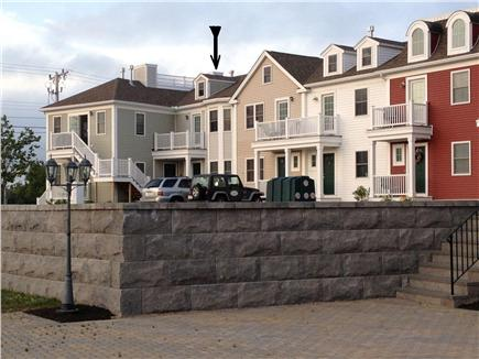 West Harwich Cape Cod vacation rental - View of condo (arrow) from patio